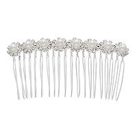 Simulated Pearl & Crystal Flower Hair Comb