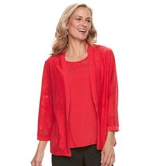 Women's Alfred Dunner Studio 2-pc. Mesh Lace Cardigan & Cami Set