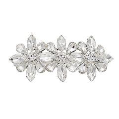 Simulated Crystal Triple Flower Barrette
