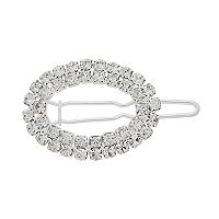 Simulated Crystal Open Oval Barrette