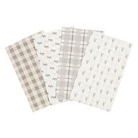 Trend Lab Stag and Moose 4 pkFlannel Burp Cloth Set