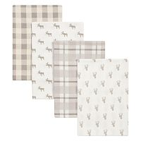 Trend Lab Stag and Moose 4 pkFlannel Swaddle Blankets