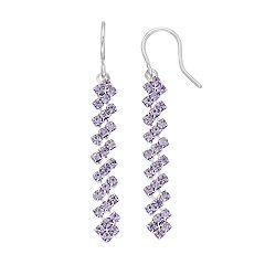 Purple Simulated Crystal Nickel Free Linear Drop Earrings