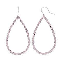 Pink Simulated Crystal Nickel Free Teardrop Earrings