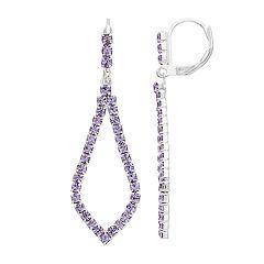 Purple Simulated Crystal Nickel Free Kite Drop Earrings