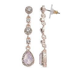 Pink Simulated Crystal Nickel Free Halo Linear Drop Earrings