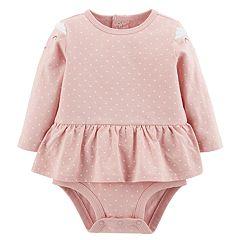 Baby Girl Carter's Peplum Cat Polka-Dot Bodysuit