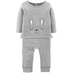 Baby Girl Carter's Bunny Ear Mock-Layered Jumpsuit