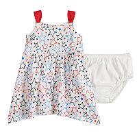 Baby Girl Jumping Beans® Patriotic Star Handkerchief-Hem Dress