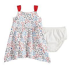 Baby Girl Jumping Beans® Patriotic Star Handkerchief-Hem Dress