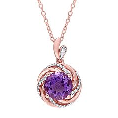 Stella Grace Rose Gold Tone Sterling Silver Amethyst & White Topaz Swirl Pendant Necklace