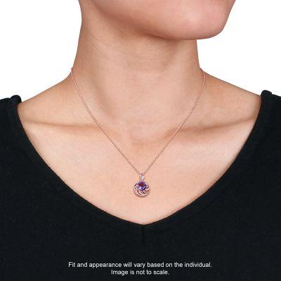 Stella Grace Rose Gold Tone Sterling Silver Amethyst & White Topaz Swirl Pendant Necklace