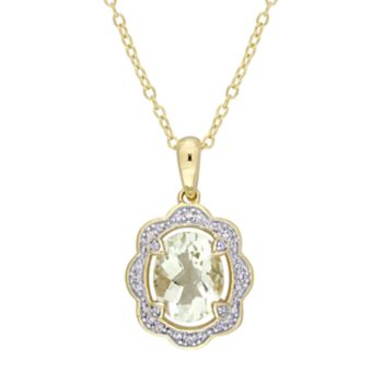 Stella Grace Gold Tone Sterling Silver Green Quartz & 1/10 Carat T.W. Diamond Pendant Necklace
