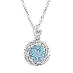 Stella Grace Sterling Silver Blue Topaz & Diamond Accent Swirl Pendant Necklace