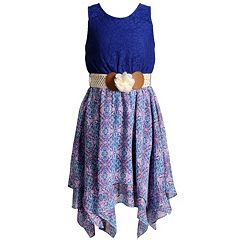 Girls 7-16 Emily West Lace Bodice Belted Sharkbite Hem Dress