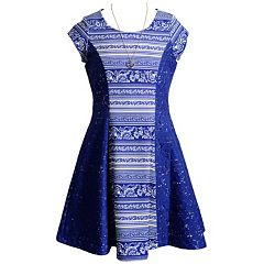 Girls 7-16 Emily West Striped Lace Skater Dress with Necklace