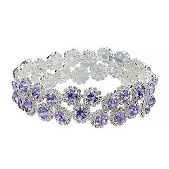 Purple Simulated Crystal Halo Stretch Bracelet