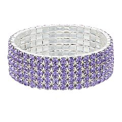 Purple Simulated Crystal Multi Row Stretch Bracelet