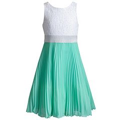 Girls 7-16 Emily West White to Mint Pleated Dress