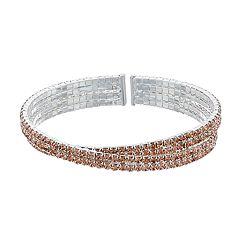 Simulated Crystal Multi Row Cuff Bracelet
