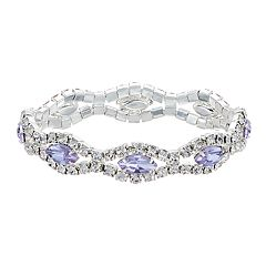 Purple Simulated Crystal Stretch Bracelet