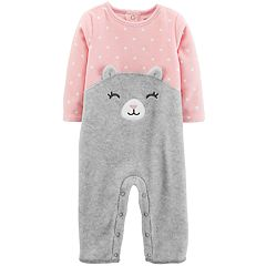 Baby Girl Carter's Polka Dot Cat Face Coverall