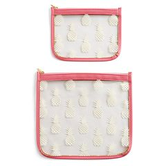 LC Lauren Conrad 2-piece Pretty Pink Pineapple Pouch Set