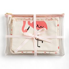 LC Lauren Conrad Beachy Flamingos 3-piece Cosmetic Bag Set