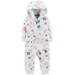 Baby Girl Carter's Hooded Floral Coverall