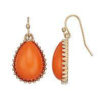 Peach Cabochon Nickel Free Teardrop Earrings
