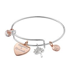 love this life Two Tone 'Happiness is Homemade' Heart Charm Bangle Bracelet