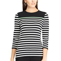 Women's Chaps Striped Button-Shoulder Tee