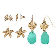 Crab, Starfish & Shell Nickel Free Earring Set