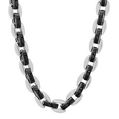 Men's Two Tone Stainless Steel Oval Chain Necklace - 24 in.