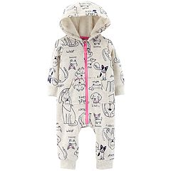 Baby Girl Carter's Dog Print Hooded Jumpsuit