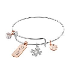love this life Two Tone 'Squad' Hashtag Charm Bangle Bracelet