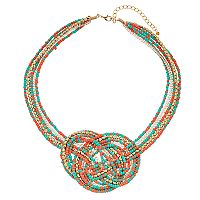 Teal & Coral Bead Woven Knot Necklace
