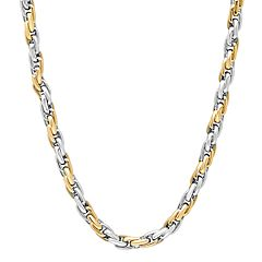Men's Two Tone Stainless Steel Rope Chain Necklace - 24 in.