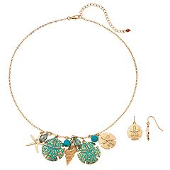 Seashell & Sand Dollar Nickel Free Necklace & Drop Earring Set