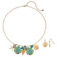 Seashell & Sand Dollar Nickel Free Necklace & Drop Earring Set