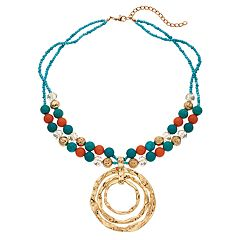 Bead & Hammered Circle Multi Strand Necklace