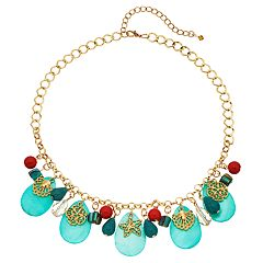 Reconstituted Turquoise & Shell Composite Beaded Nautical Bib Necklace