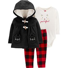 Baby Girl Carter's 'Purrfect' Bodysuit, Fleece Jacket & Plaid Leggings Set