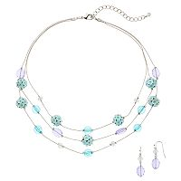 Beaded Multi Strand Necklace & Drop Earring Set