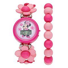 Disney's Minnie Mouse Kids' Digital Stretch Watch & Beaded Bracelet Set
