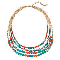 Teal & Coral Bead Multi Strand Necklace