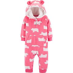 Baby Girl Carter's Polar Bear Hooded Microfleece Coverall