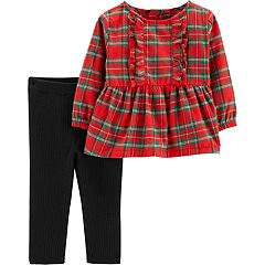 Baby Girl Carter's Plaid Lurex Tunic & Ribbed Leggings Set