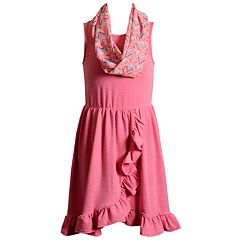 Girls 7-16 Emily West Ruffled Sleeveless Dress with Infinity Scarf