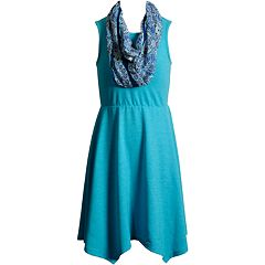 Girls 7-16 Emily West Sleeveless Sharkbite Hem Dress with Infinity Scarf